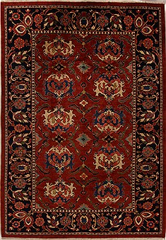 Persian Moshk Abad Red Rectangle 11x16 ft Wool Carpet 14984