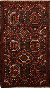 "Baluch Black Hand Knotted 3'10"" X 7'3""  Area Rug 100-14985"