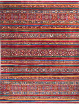 "Chobi Red Hand Knotted 10'2"" X 13'3""  Area Rug 700-140013"