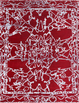 "Modern-Contemporary Red Hand Knotted 8'0"" X 10'0""  Area Rug 902-140044"