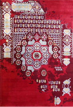 "Mamluk Red Hand Knotted 6'6"" X 9'9""  Area Rug 902-140045"