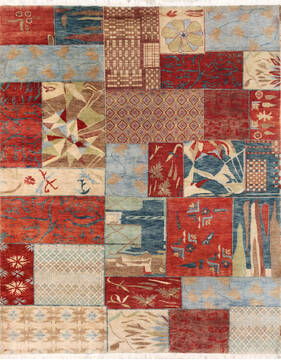 "Modern-Contemporary Multicolor Hand Knotted 8'0"" X 10'0""  Area Rug 902-140049"