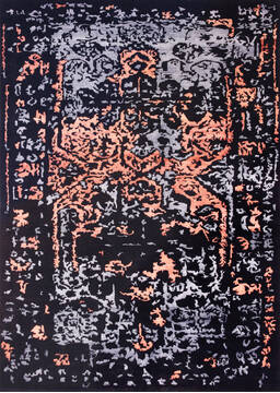 "Modern-Contemporary Black Hand Knotted 9'0"" X 12'0""  Area Rug 902-140050"