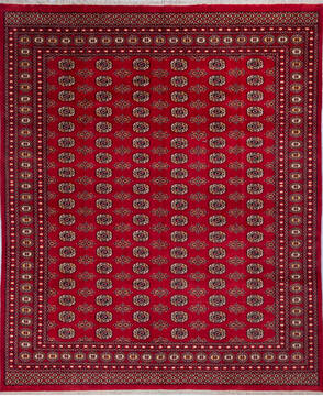 "Bokhara Red Hand Knotted 8'2"" X 9'9""  Area Rug 700-140396"