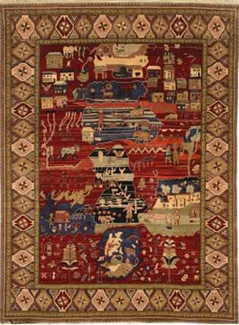 "Jaipur Red Hand Knotted 9'0"" X 12'0""  Area Rug 905-140398"