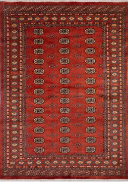 "Bokhara Red Hand Knotted 5'7"" X 7'8""  Area Rug 700-140407"