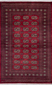 "Bokhara Red Hand Knotted 5'2"" X 8'1""  Area Rug 700-140409"