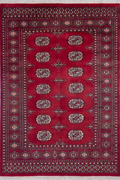 "Bokhara Red Hand Knotted 4'0"" X 5'8""  Area Rug 700-140414"
