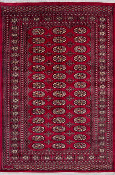 "Bokhara Red Hand Knotted 4'1"" X 6'2""  Area Rug 700-140415"
