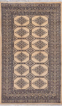 Pakistani Bokhara Beige Rectangle 5x7 ft Wool Carpet 140419
