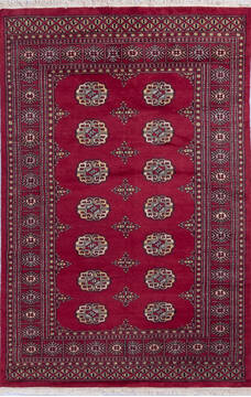 Pakistani Bokhara Red Rectangle 4x6 ft Wool Carpet 140420