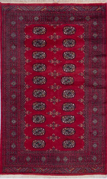 Pakistani Bokhara Red Rectangle 4x6 ft Wool Carpet 140422