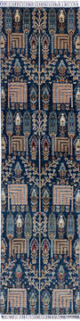 "Chobi Blue Runner Hand Knotted 2'7"" X 10'2""  Area Rug 700-140437"