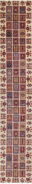 "Chobi Beige Runner Hand Knotted 2'6"" X 14'1""  Area Rug 700-140440"