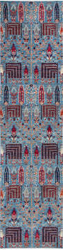 "Chobi Blue Runner Hand Knotted 2'6"" X 9'7""  Area Rug 700-140441"