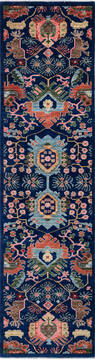"Chobi Blue Runner Hand Knotted 2'6"" X 9'6""  Area Rug 700-140443"
