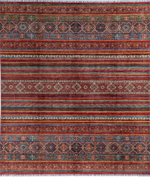 "Chobi Multicolor Hand Knotted 8'4"" X 9'7""  Area Rug 700-140452"
