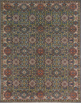 "Chobi Green Hand Knotted 7'9"" X 10'2""  Area Rug 700-140455"