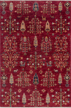 "Chobi Red Hand Knotted 4'0"" X 6'0""  Area Rug 700-140457"