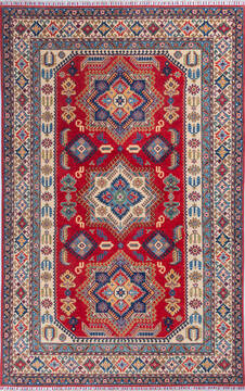 "Kazak Red Hand Knotted 6'5"" X 10'1""  Area Rug 700-140463"
