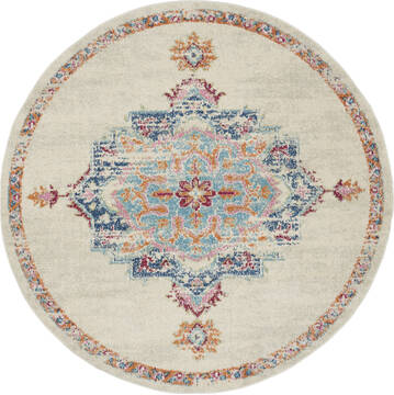 "Nourison Passion Grey Round 5'3"" X 5'3"" Area Rug  805-142095"