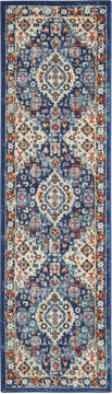 "Nourison Passion Blue Runner 2'2"" X 7'6"" Area Rug  805-142138"