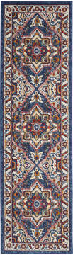 "Nourison Passion Blue Runner 2'2"" X 7'6"" Area Rug  805-142173"
