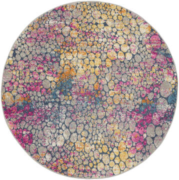 "Nourison Passion Yellow Round 4'0"" X 4'0"" Area Rug  805-142187"