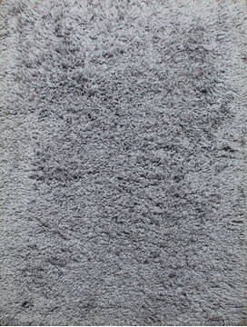 Indian Shaggy Grey Rectangle 4x6 ft Polyester and Wool Carpet 143400