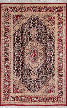 "Pak-Persian Black Hand Knotted 6'1"" X 9'3""  Area Rug 700-143405"