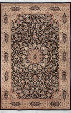 "Pak-Persian Black Hand Knotted 6'1"" X 9'3""  Area Rug 700-143406"