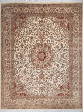 "Pak-Persian Beige Hand Knotted 8'2"" X 10'6""  Area Rug 700-143411"