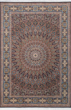 "Pak-Persian Black Hand Knotted 6'2"" X 9'2""  Area Rug 700-143417"