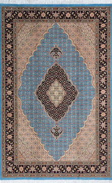 "Pak-Persian Blue Hand Knotted 5'2"" X 8'0""  Area Rug 700-143418"