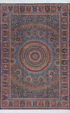"Pak-Persian Blue Hand Knotted 6'1"" X 9'2""  Area Rug 700-143419"