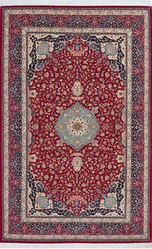 "Pak-Persian Red Hand Knotted 4'8"" X 7'3""  Area Rug 700-143480"