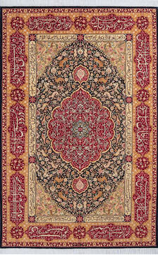 "Pak-Persian Black Hand Knotted 4'7"" X 7'1""  Area Rug 700-143481"