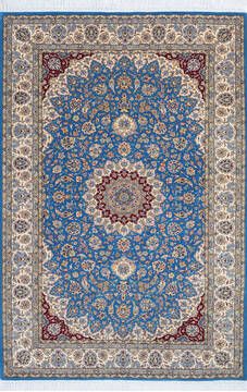 "Pak-Persian Blue Hand Knotted 4'7"" X 6'10""  Area Rug 700-143482"