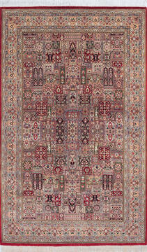 "Pak-Persian Red Hand Knotted 4'7"" X 7'5""  Area Rug 700-143483"