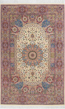 "Pak-Persian Beige Hand Knotted 4'7"" X 7'3""  Area Rug 700-143484"