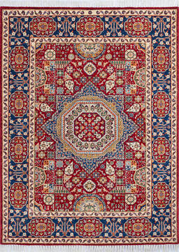 "Chobi Red Hand Knotted 4'11"" X 6'7""  Area Rug 700-143486"