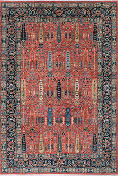 "Chobi Red Hand Knotted 6'8"" X 9'8""  Area Rug 700-143511"
