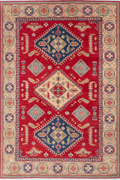 "Kazak Red Hand Knotted 6'7"" X 9'9""  Area Rug 700-143514"