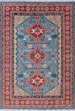 "Kazak Blue Hand Knotted 5'5"" X 7'10""  Area Rug 700-143533"
