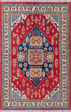"Kazak Red Hand Knotted 3'10"" X 5'10""  Area Rug 700-143536"