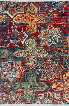 "Modern Red Hand Knotted 4'0"" X 5'10""  Area Rug 700-144879"