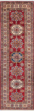 "Kazak Red Runner Hand Knotted 2'9"" X 8'10""  Area Rug 700-144884"