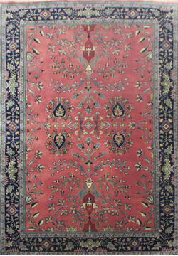 Indian Sarouk Red Rectangle 6x9 ft Wool Carpet 144899
