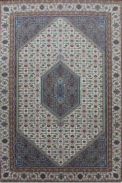 Indian Bidjar White Rectangle 7x10 ft Wool Carpet 144926