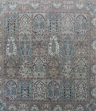 Indian Bakhtiar Multicolor Square 5 to 6 ft Wool Carpet 144928
